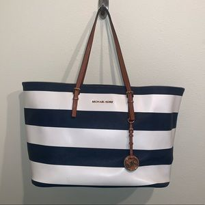 Michael Kors Blue and White Striped Tote